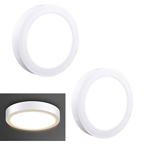 2Pack LED Surface Mounted Panel Ceiling Light Fixture-12W(100W Equivalent) Soft Warm Flat Flush Mount Downlight Lamp for Closet/Hallway/Stairs/Bathroom/Basement Lighting (Installing Ceiling Light Fixture Without Ground Wire)
