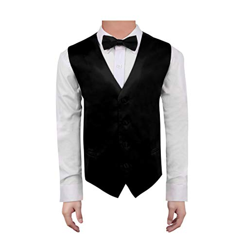 Dan Smith DGEE0011-12 Black Kids Solid Vest Microfiber Popular For Graduation Baby Vest with Matching Bow Tie for Age 12 ()