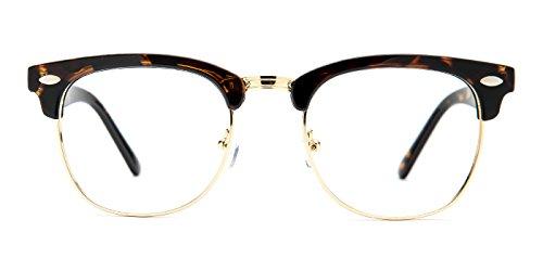TIJN Men's Classic Inspired Half Frame Nerd Horn Rimmed Clear Lens - Non Glasses Prescription Clubmaster
