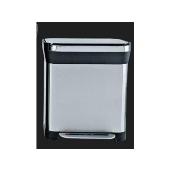 VOLERO-SHOPPING-ONLINE-Compattatore-per-Rifiuti-Domestico-Modello-Apollo-Pedaliera-per-Apertura-Telaio-in-Acciaio-Color-Argento-Capacita-30-Litri
