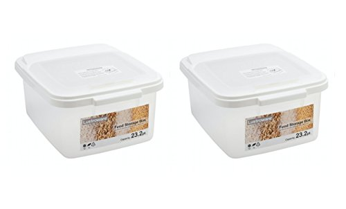 Storage Box with All-Around Lid Large Size Set of 2 (White) by Lustroware
