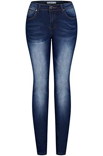 - 2LUV Women's Stretchy 5 Pocket Dark Acid Wash Skinny Jeans Faded Blue Denim 9