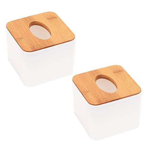 BESTOMZ Caja de Madera para Pañuelos Sostenedor de Pañuelos Cuadrado Decoracion para Mesa 2 Piezas