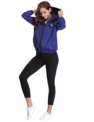 Vento Lampo Tasche Comode A Casual Donna Cappuccio Abollria Cappotto Antipioggia Impermeabili Ragazza Giacca Per Con E Chiusura Reale Blu Giacche 6ZqxwTSY