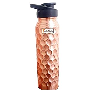Prisha India Craft Pure Copper Bottle, Lacquer Coated Sipper Water Bottles for Sports, Gym | Capacity 1000 ML