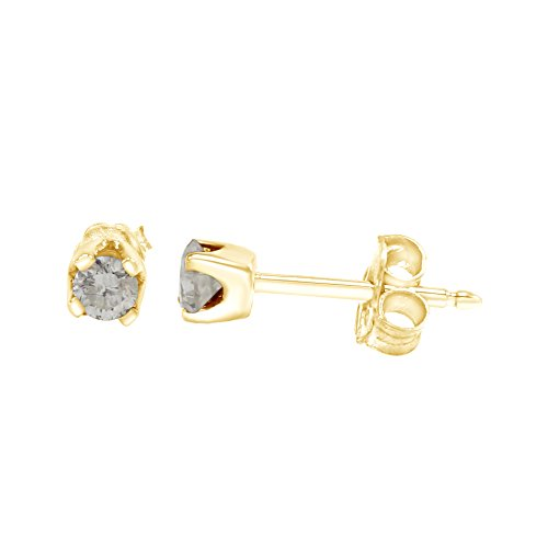 0.2 Ct Diamond Earrings - Round Cut White Natural Diamond Stud Earrings in 14k Gold Over Sterling Silver (0.2 Ct)