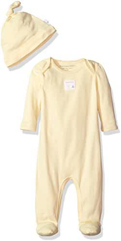 Burt's Bees Baby Essentials Footed Coverall + Knot Top Hat Set, 100% Organic Cotton