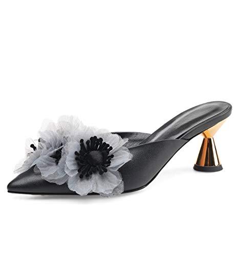 À Aiguilles 2 Selling Pantoufles Black Sandales Portant Et Bonnet Pointues Similicuir Femmes Hauts En Talons Sexy 3 Pouces Fleurs Un 37 Pour black Yw5wgq