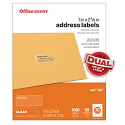 Office Depot(R) Brand Address Labels, OD99312, 1in. x 2 5/8in., Clear, Pack Of 1,500