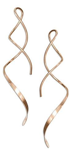 14 Karat Rose Gold Filled 2 inch Spiral Streamer Curly Wire Earrings (Spiral Filled Gold Earrings)