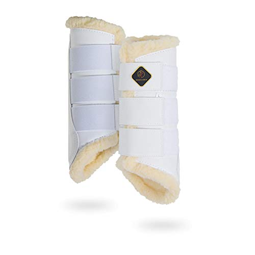 Kavallerie Dressage Horses Boots: Fleece-Lined Faux Leather Woof Brushing Boots for Training, Jumping, Riding, Eventing - Quick Wear for Breathable, Lightweight & Impact-Absorbing Wrap White