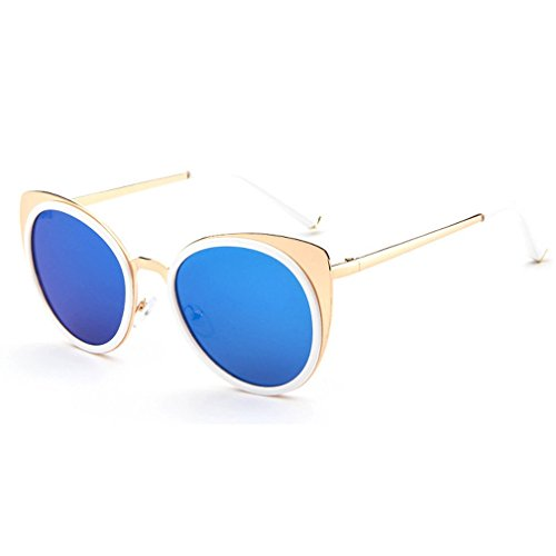 LOMOL 2016 New Womens Trendy Metal Frame Reflective Lens UV Protection Personality Cateye - Priced Sunglasses Low To Sell