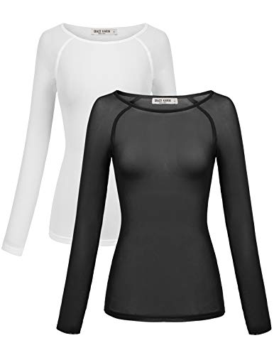 GRACE KARIN 2 Pack Long Sleeve Slim Fit Mesh Sheer T-Shirt Top Blouse Size XL Black & White ZH077-1