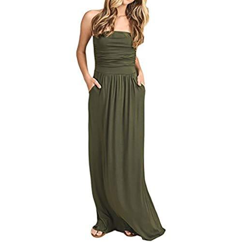Sumeimiya Women's Bandeau Dress, Round Neck Lace Sleeveless Maxi Dresses Casual Long Dresse with Pocket ()