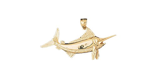 14k Yellow Gold Marlin Pendant (45mm x 19mm) 14k Yellow Gold Marlin