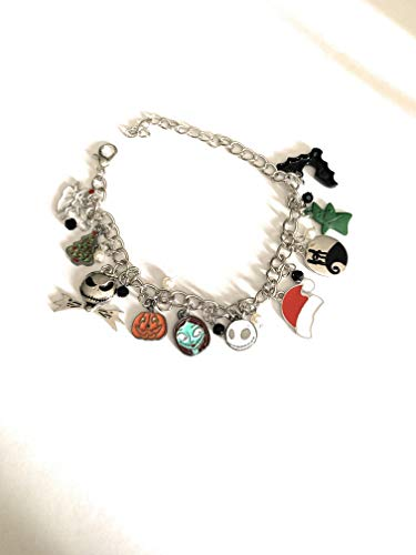 Ivy & Clover Enamel Charm Bracelet Inspired by Nightmare Before ()