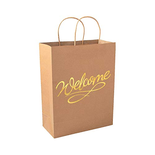 Fun Express Gold Foil Welcome Kraft Bags | 12 Count | Great for Christmas Parties, Holiday Celebrations, Weddings, Birthday Parties, Special Occasions -