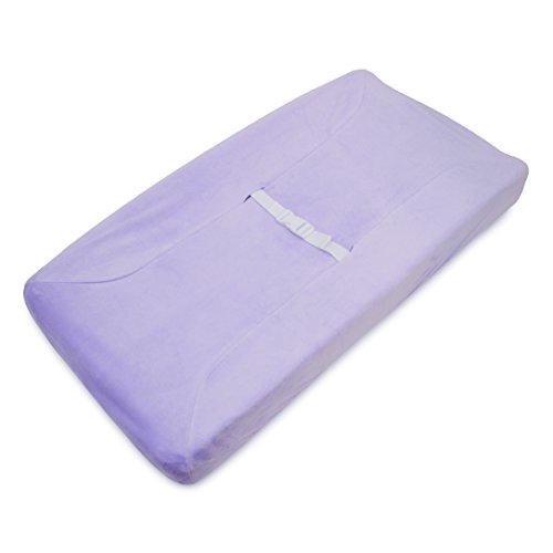 American Baby Company Heavenly Soft Chenille Fitted Contoured Changing Pad Cover, Lavender