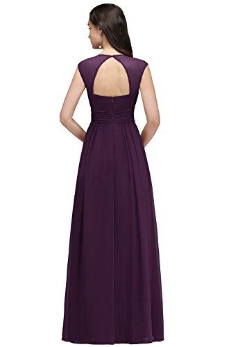 Robe par d'honneur V de pour Demoiselle Maxi Elgante Col MisShow Longue Mariage Soire Violet g4HqwwS