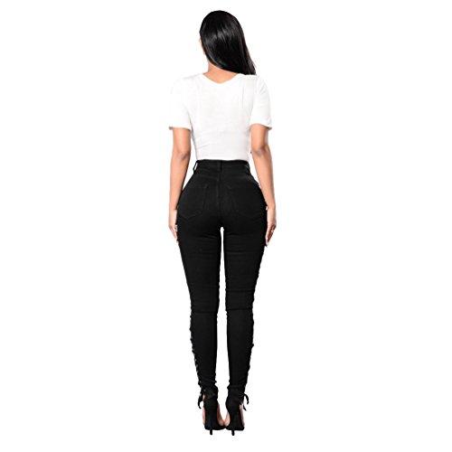 YuanDian Femme Casual Côté Bandage Taille Haute Push Up Legging Jeans Push Up Slim Fit Élégant Crayon Jegging Pantalon