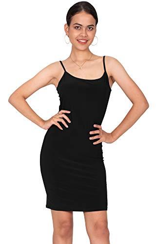 (KOH KOH Womens Sexy Spaghetti Strap Sleeveless Tight Fitted Bodycon Clubwear Nightgown Undergarment Stretchy Cami Knee Length Camisole Slip Midi Dress, Black L 12-14)