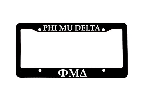 Officially Licensed Phi Mu Delta License Plate Frame - Black with White - Plate Delta License Frame