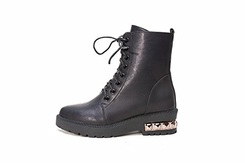 Allhqfashion Low and Studded Black Women's Sole Boots Heels Soft Non Material with Slipping PU nAgqAp