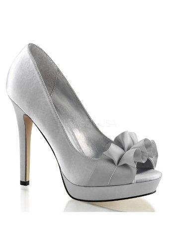 Satin Fabulicious sexy Pumps Heels Rüschen 42 Silber High mit 35 Lumina 42 Plateau Burlesque Peeptoe a1xarPq