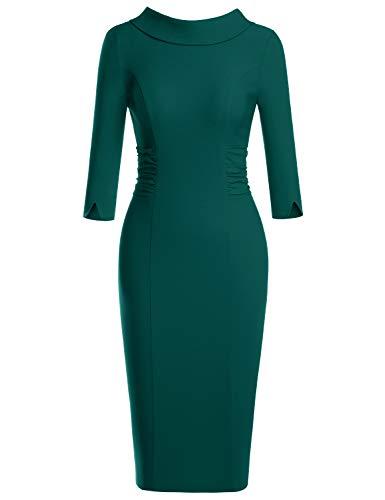(MUXXN Womens Dark Green 3/4 Sleeve Empire Waist Sheath Classic Bodycon Bridesmaid Dress (Dark Green M))