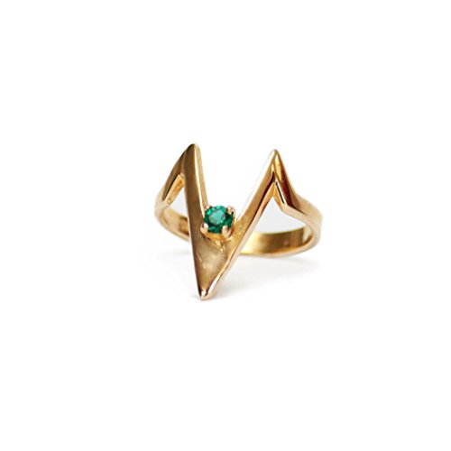 (Providence Vintage Jewelry 1980's Emerald Swarovski Crystal V Shaped Ring 18k Yellow Gold Electroplated)