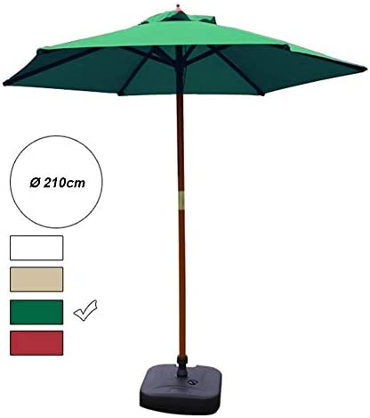 CHHDガーデンパラソル7 'パティオラウンドテーブルパラソル屋外市場パラソル、70%UV耐性ポリエステル生地ソリッドウッドブラケット(色:オフホワイト)(色:WinRed)