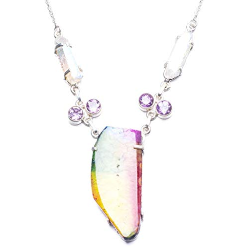 (Natural Drusy Agate,Amethyst and Rainbow Drusy Cluster Handmade 925 Sterling Silver Necklace 17.75
