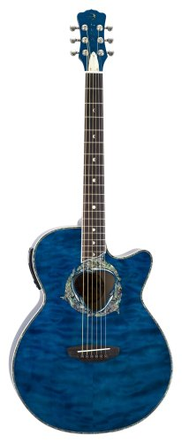 Luna Fauna Series Dolphin Cutaway Acoustic-Electric Guitar - Transparent Azure