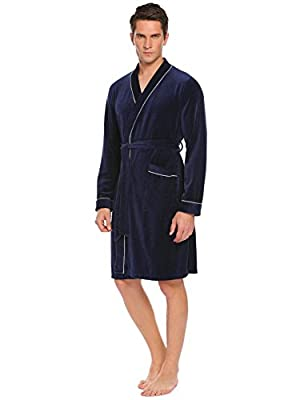 L'amore Mens Bathrobe Spa Hotel Kimono Cotton Robe Lounge Sleepwear