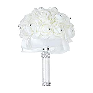 Febou Wedding Bouquet, Big Size Ivory Bridesmaid Bouquet Bridal Bouquet with Crystals Soft Ribbons, Artificial Rose Flowers for Wedding, Party and Church (Ivory Big Size) 35