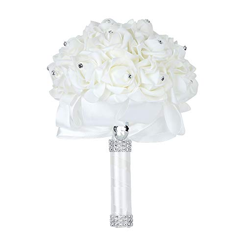 Febou Wedding Bouquet, Big Size Bridesmaid Bouquet Bridal Bouquet with Crystals Soft Ribbons, Artificial Rose Flowers for Wedding, Party and Church(Ivory)