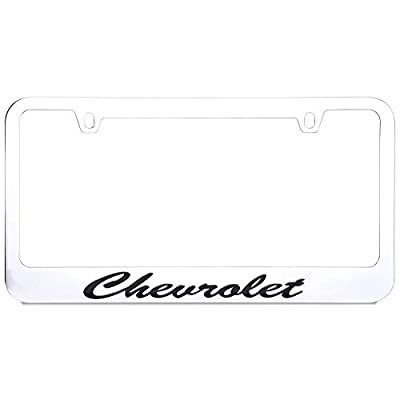 West Coast Corvette / Camaro Chevrolet Script License Plate Frame (Chrome with Black): Automotive