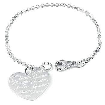 (Womens 925 Sterling Silver Reversible Engraving Heart 7