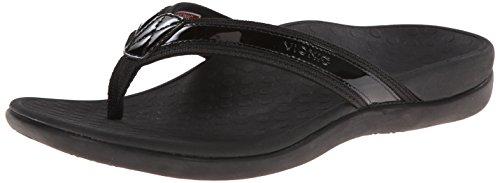 44TIDEII-BLK Vionic Women's Tide II Toe Post Flip Flops - Black - 8.0 - M