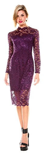 Stanzino Cocktail Dress  Women's Long Sleeve Lace Dresses for Special Occasions,Purple,Large