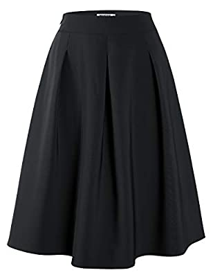 MUXXN Women's 1950s Retro Cute A Line Empire Waist Casual Fit and Flared Skirts