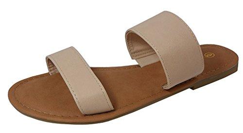 Cambridge Select Women's Two Strap Slip-On Flat Slide Sandal (9 B(M) US, Beige)