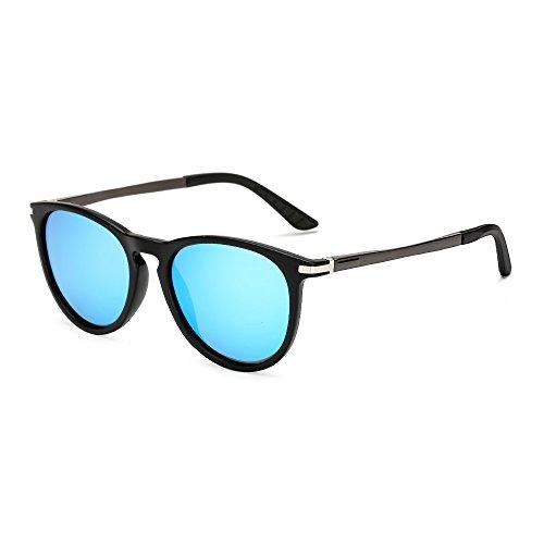 - Long Keeper Round Polarized Sunglasses Men Women Fashion Vintage UV400 Glasses (Black Blue)