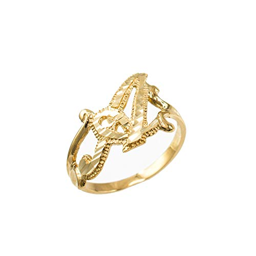 - Sparkle-Cut Letter Initial Script Ring In 10K Yellow Gold (Letter A, Size 8)