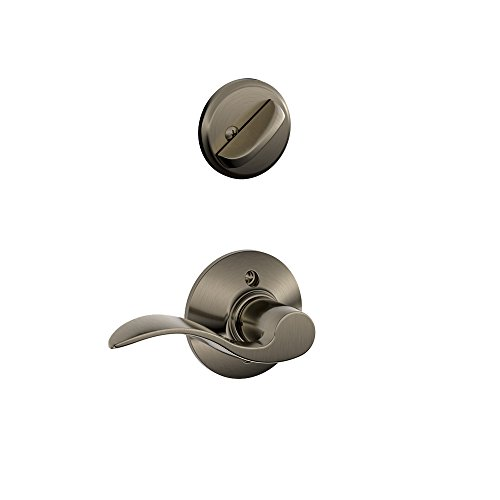 Schlage F59 ACC 620 RH Accent Interior Right-Handed Lever with Deadbolt, Antique Pewter (Interior Half Only) ()