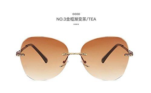 sol LSHGYJ y sin tendencias de cristalino Europa Estados moda cerco gradient tea sol gafas sol señoras gafas Color Unidos de de metal GLSYJ gafas mar frame los Gold rwq8ra