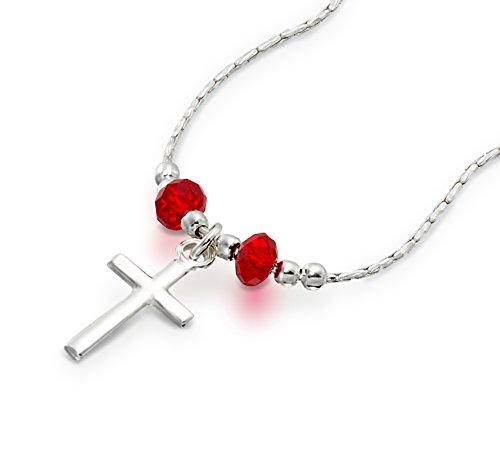 Swarovski Crystals Cross Pendent Necklace - Girls Cross Pendant Made with Original Swarovski Red Crystals 925 Sterling Silver Necklace, 16