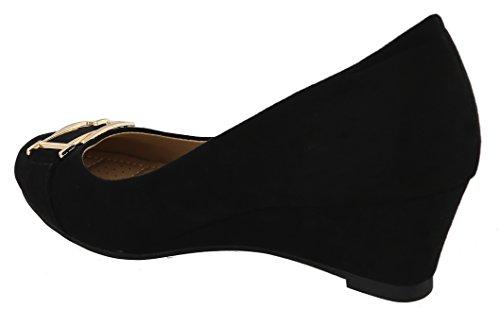 Women's Buckle Black Wedge Gold Toe Dress Platform Top Closed Moda zwptqW7n5S