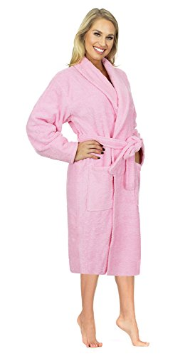 Indulge Terry Shawl Bathrobe For Men and Women, 100% Cotton, Made In Turkey (Pink, OS) (Cotton Linen Robe)