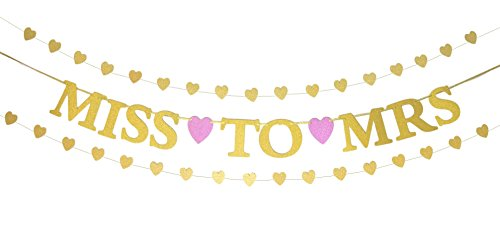 Miss to Mrs Banner and Gold Glitter Heart-Shaped Garlands Set - Decorations for Bachelorette Party, Bridal Shower, Engagement Party, Rehearsal Dinner, Wedding Reception (Pre-Strung)